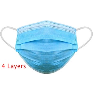 Medical Procedure Masks 4 layers- Ear Loops 50/pk
