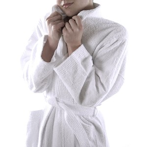 Terry Cotton Bath Robe - Unisex - White
